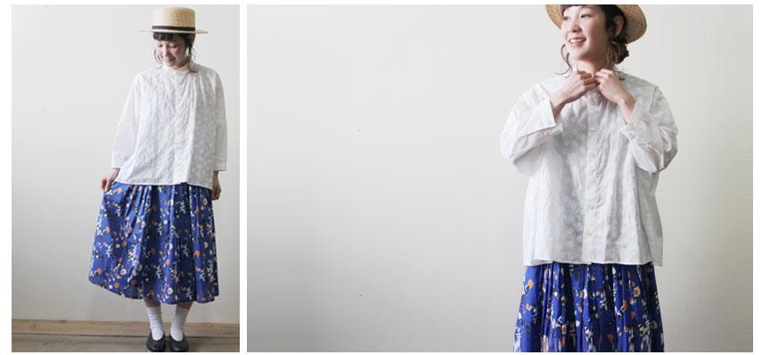 刺繍ビッグブラウス × リバティプリント ギャザースカート