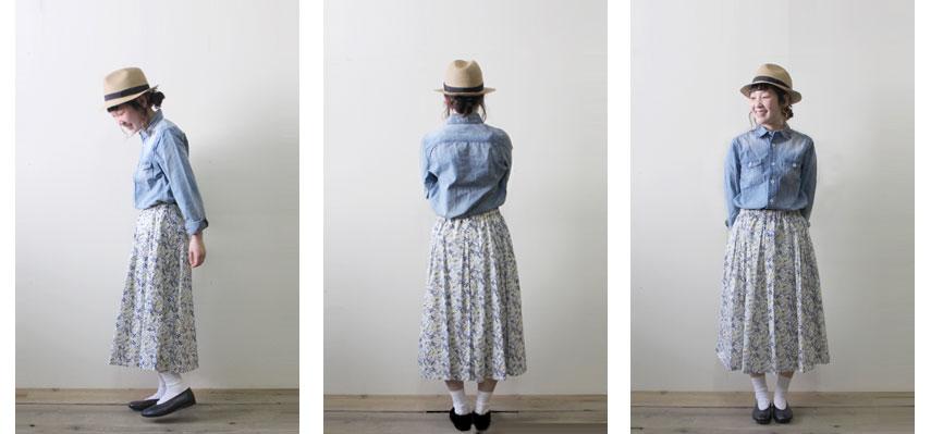 デニム ワークシャツ×リバティプリント ギャザースカート