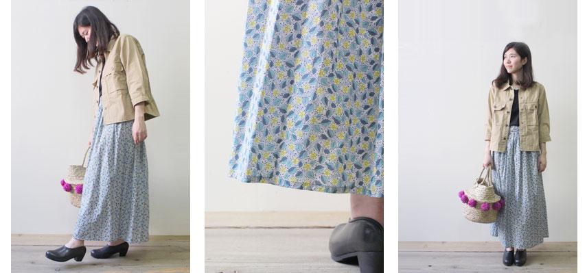 ミニタリーシャツジャケット×リバティプリント ギャザースカート