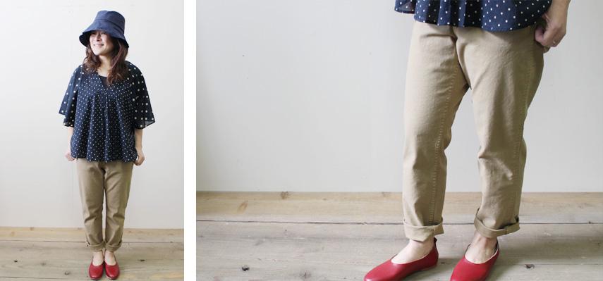裾にかけて緩やかに細くなっているのが特徴のテーパードパンツ。