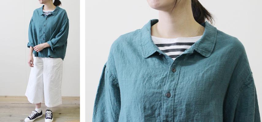 やや前下がりの襟ぐりや小ぶりな襟は、首まわりをスッキリと見せてくれるデザイン。
