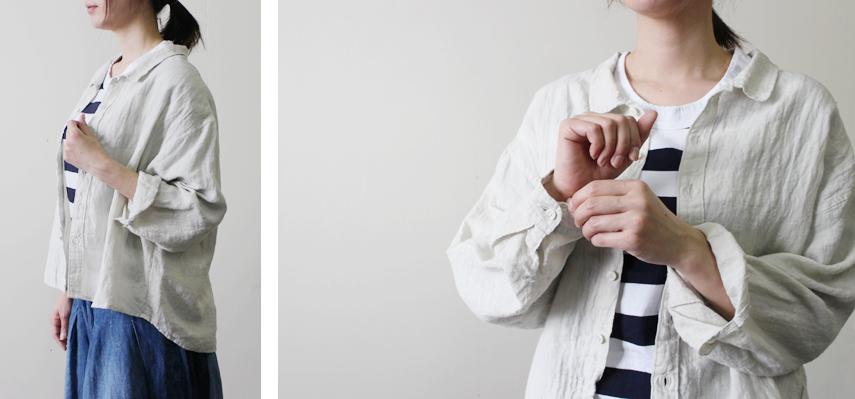 袖を少しまくって手首を見せれば、柔らかな女性らしい雰囲気に