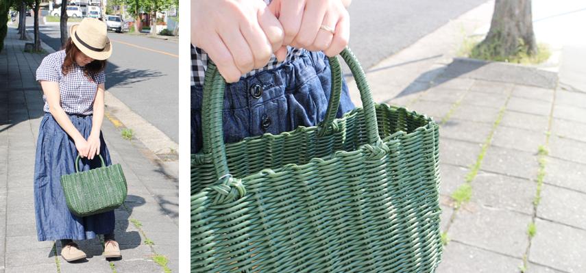 お買い物やピクニックには、かわいさ+機能性のマルシェバッグタイプ。