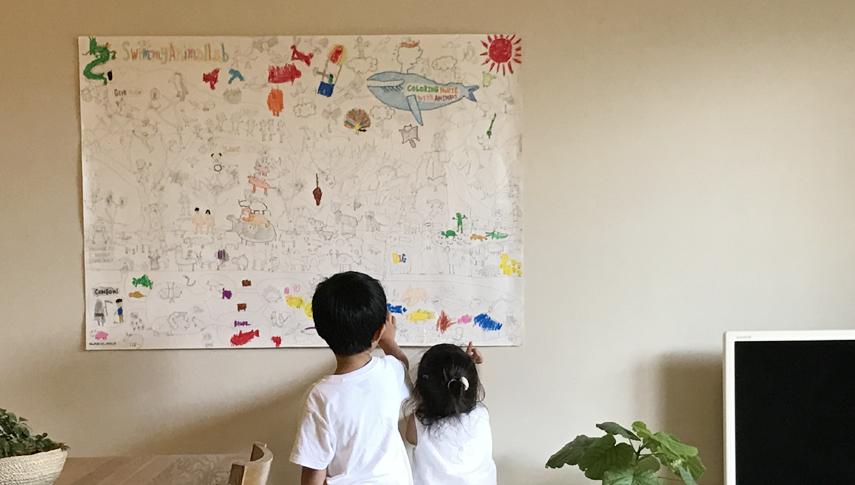 壁に貼ってご家族みんなでコツコツ塗り足していくのも素敵。